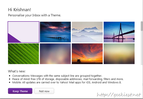 New Yahoo Mail Themes