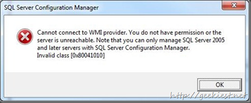 Fix - Cannot connect to WMI provider – Invalid class - SQL Server 2008