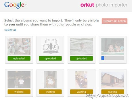 importing photos from orkut to google plus
