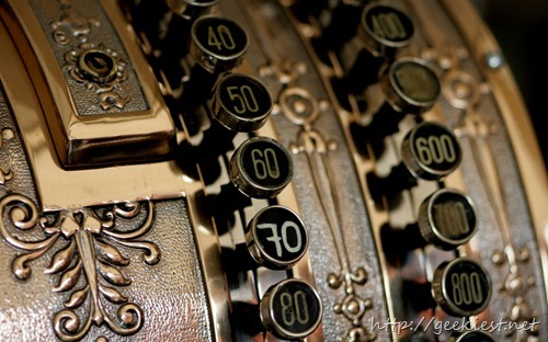 Antique cash register, close-up of numbers