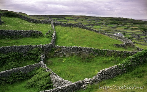 Stone walls on the island of Inisheer in Galway Bay, Ireland