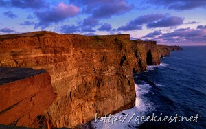 Sunset at the Cliffs of Moher on the west coast, County Clare, Ireland