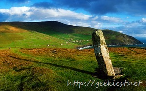 Ogham Stone at Dunmore Head on Dingle Peninsula, County Kerry, Ireland