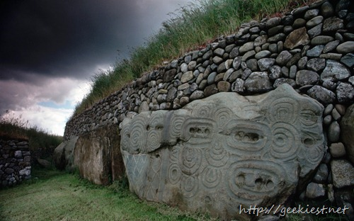 Carved stones at Newgrange Tumulus, County Meath, Ireland