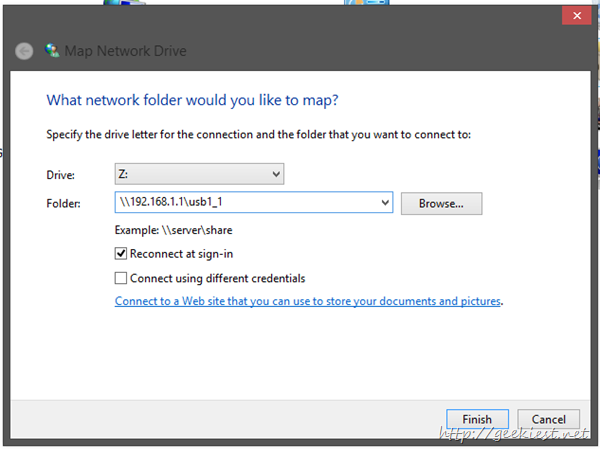 mapping drive Windows 8