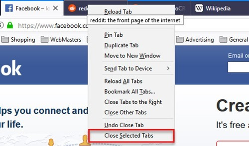 multiple selection of tabs in Firefox right click
