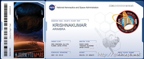 name to Mars on Orion