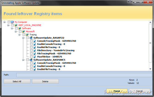 revo uninstall found left over registry entries