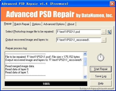 Free tool to recover corrupt Photoshop image(PSD, PDD) files
