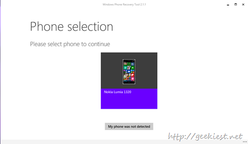select Phone to downgrade to Windows 8