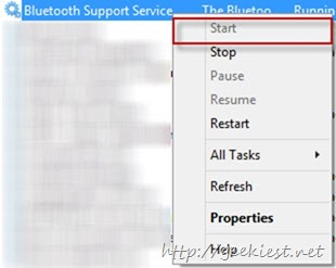 start bluetooth support devices