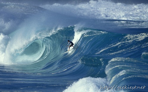 Professional surfer Marco Polo at Waimea, Oahu, Hawaii