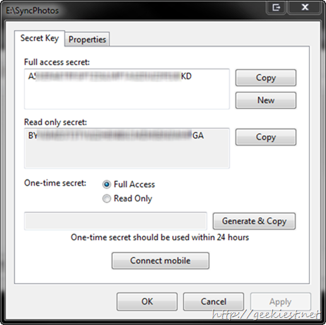 sync folder settings and secret keys