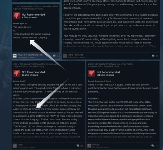 tencent negative reviews steam