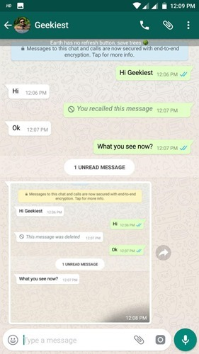 whatsapp message  deleted for all